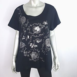 Black Sequin Embroidered Top Plus Size 22W 24W
